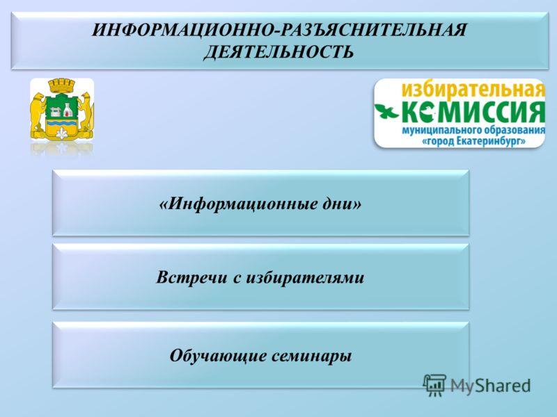 «Информационные дни» Встречи с избирателями Обучающие семинары
