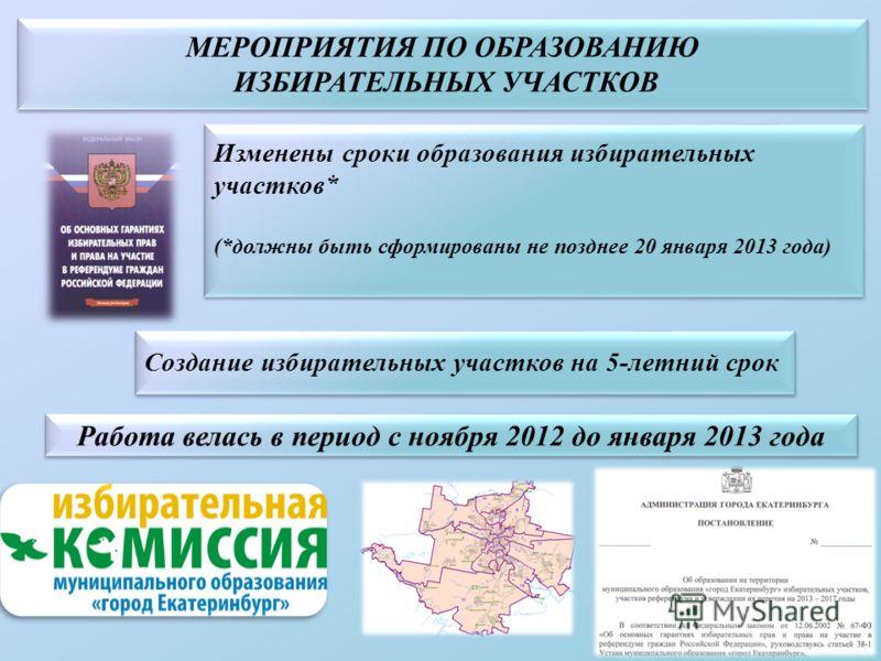 МЕРОПРИЯТИЯ ПО ОБРАЗОВАНИЮ ИЗБИРАТЕЛЬНЫХ УЧАСТКОВ МЕРОПРИЯТИЯ ПО ОБРАЗОВАНИЮ ИЗБИРАТЕЛЬНЫХ УЧАСТКОВ Изменены сроки образования избирательных участков* (*должны быть сформированы не позднее 20 января 2013 года) Изменены сроки образования избирательных