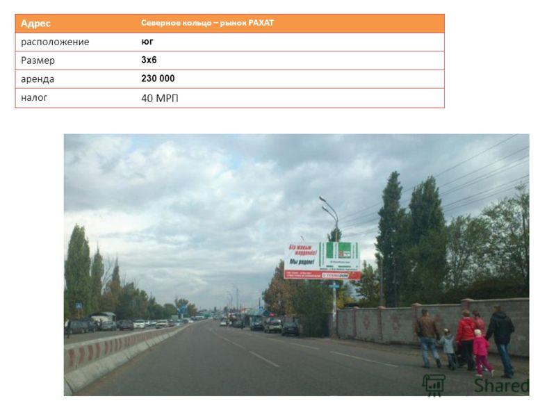 Адрес Северное кольцо – рынок РАХАТ расположение юг Размер 3х63х6 аренда 230 000 налог 40 МРП