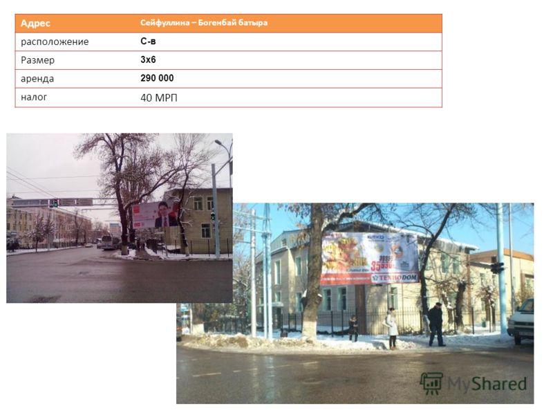 Адрес Сейфуллина – Богенбай батыра расположение С-в Размер 3х63х6 аренда 290 000 налог 40 МРП