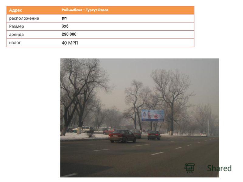 Адрес Райымбека – Тургут Озала расположение рп Размер 3х63х6 аренда 290 000 налог 40 МРП