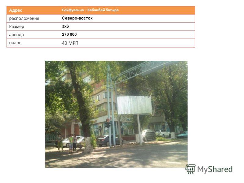Адрес Сейфуллина – Кабанбай батыра расположение Северо-восток Размер 3х63х6 аренда 270 000 налог 40 МРП