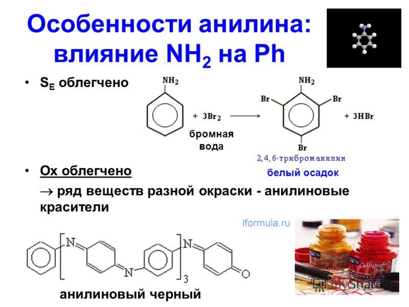 Особенности анилина: влияние NH 2 на Ph S E облегчено Ox облегчено ряд веществ разной окраски - анилиновые красители белый осадок бромная вода lformula.ru анилиновый черный