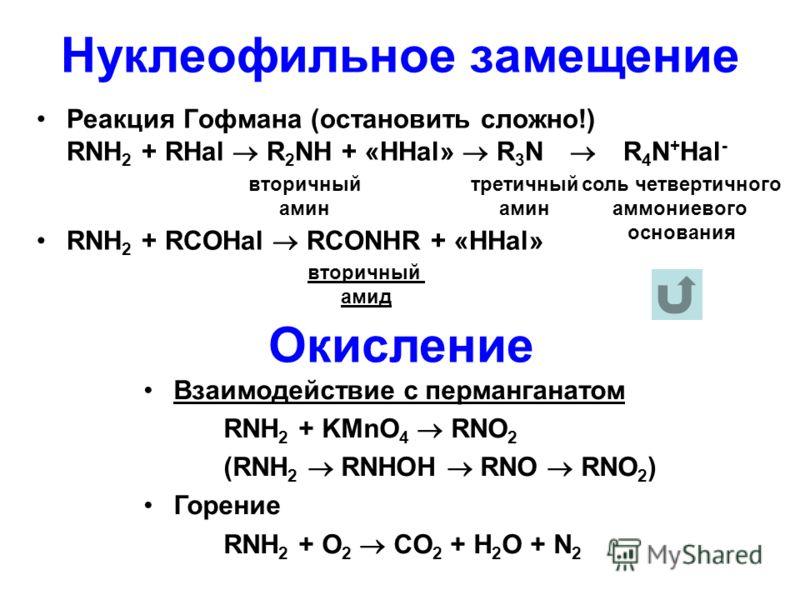 Нуклеофильное замещение Реакция Гофмана (остановить сложно!) RNH 2 + RHal R 2 NH + «HHal» R 3 N R 4 N + Hal - RNH 2 + RCOHal RCONHR + «HHal» Окисление Взаимодействие с перманганатом RNH 2 + KMnO 4 RNO 2 (RNH 2 RNHOH RNO RNO 2 ) Горение RNH 2 + O 2 CO
