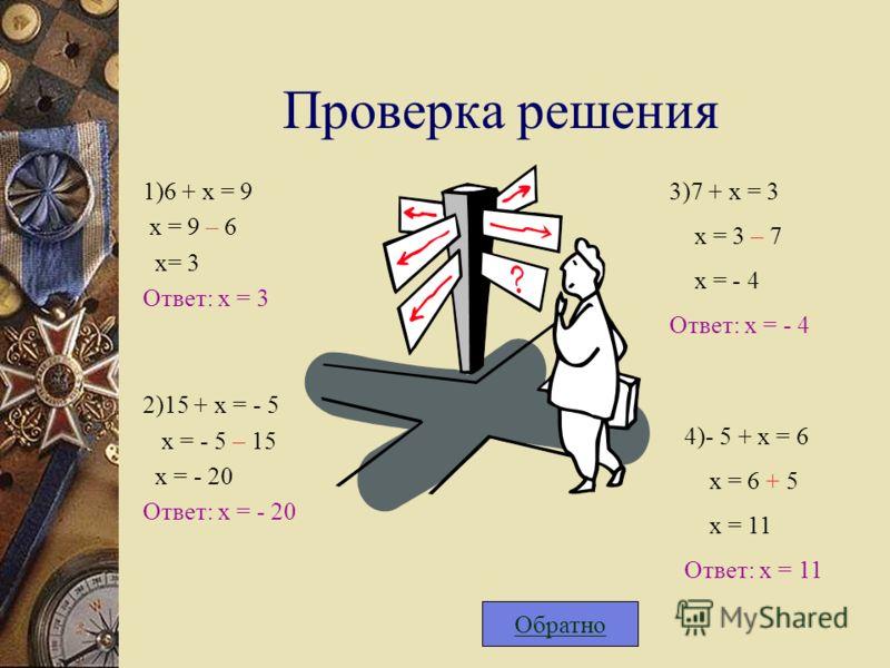 Проверка решения 1)6 + х = 9 х = 9 – 6 х= 3 Ответ: х = 3 2)15 + х = - 5 х = - 5 – 15 х = - 20 Ответ: х = - 20 3)7 + х = 3 х = 3 – 7 х = - 4 Ответ: х = - 4 4)- 5 + х = 6 х = 6 + 5 х = 11 Ответ: х = 11 Обратно