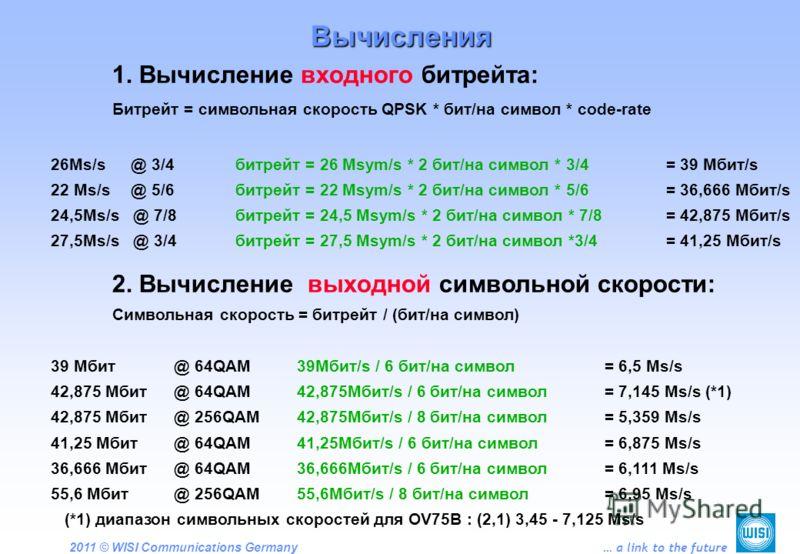 2011 © WISI Communications Germany … a link to the future 1. Вычисление входного битрейта: Битрейт = символьная скорость QPSK * бит/на символ * code-rate 26Ms/s @ 3/4битрейт = 26 Msym/s * 2 бит/на символ * 3/4 = 39 Мбит/s 22 Ms/s @ 5/6битрейт = 22 Ms