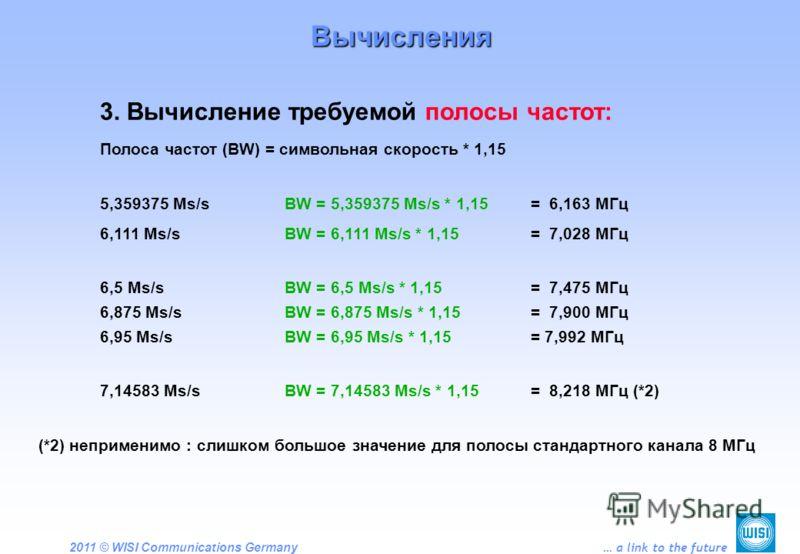 2011 © WISI Communications Germany … a link to the future 3. Вычисление требуемой полосы частот: Полоса частот (BW) = символьная скорость * 1,15 5,359375 Ms/sBW = 5,359375 Ms/s * 1,15 = 6,163 МГц 6,111 Ms/sBW = 6,111 Ms/s * 1,15 = 7,028 МГц 6,5 Ms/sB