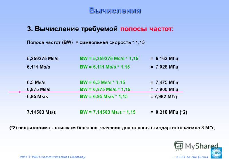 2011 © WISI Communications Germany … a link to the future Вычисления 3. Вычисление требуемой полосы частот: Полоса частот (BW) = символьная скорость * 1,15 5,359375 Ms/sBW = 5,359375 Ms/s * 1,15 = 6,163 МГц 6,111 Ms/sBW = 6,111 Ms/s * 1,15 = 7,028 МГ