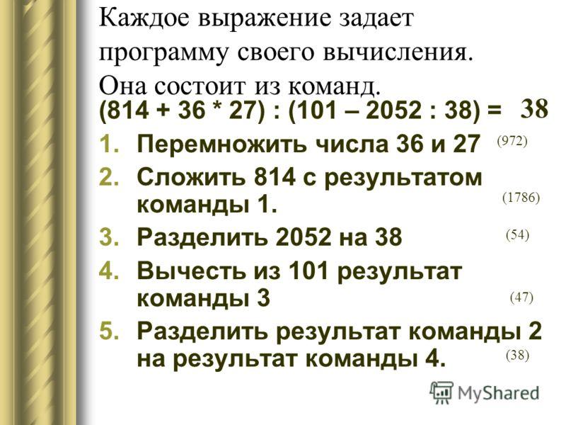 Каждое выражение задает программу своего вычисления. Она состоит из команд. (814 + 36 * 27) : (101 – 2052 : 38) = 1.Перемножить числа 36 и 27 2.Сложить 814 с результатом команды 1. 3.Разделить 2052 на 38 4.Вычесть из 101 результат команды 3 5.Раздели