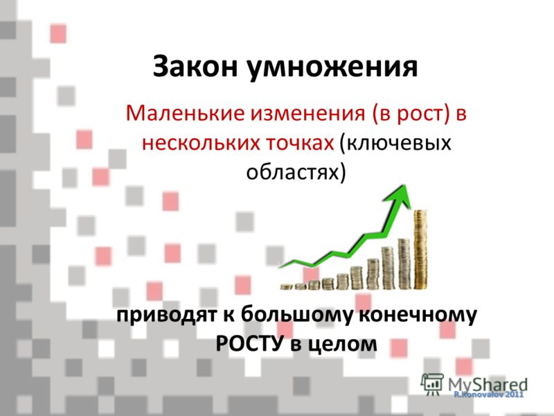 Закон умножения R.Konovalov 2011 Маленькие изменения (в рост) в нескольких точках (ключевых областях) приводят к большому конечному РОСТУ в целом