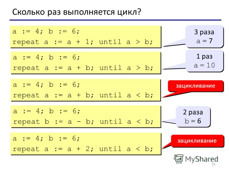 16 Сколько раз выполняется цикл? a := 4; b := 6; repeat a := a + 1; until a > b; a := 4; b := 6; repeat a := a + 1; until a > b; 3 раза a = 7 3 раза a = 7 a := 4; b := 6; repeat a := a + b; until a > b; a := 4; b := 6; repeat a := a + b; until a > b;