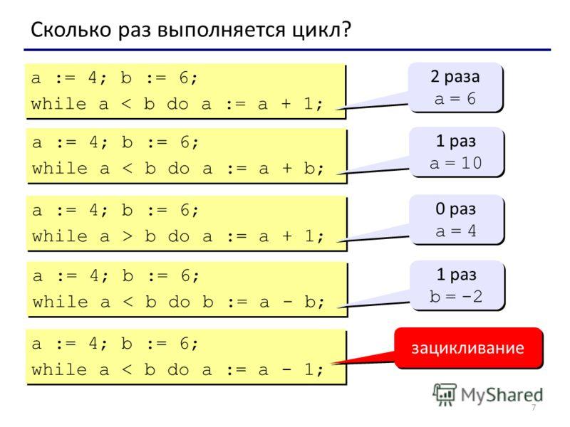 7 Сколько раз выполняется цикл? a := 4; b := 6; while a < b do a := a + 1; a := 4; b := 6; while a < b do a := a + 1; 2 раза a = 6 2 раза a = 6 a := 4; b := 6; while a < b do a := a + b; a := 4; b := 6; while a < b do a := a + b; 1 раз a = 10 1 раз a