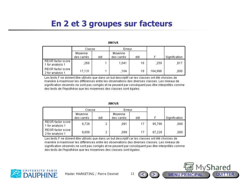 QUITTER MENU PRINCIPAL > > < < Master MARKETING / Pierre Desmet 11 En 2 et 3 groupes sur facteurs
