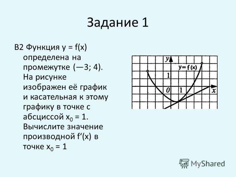 Задание 1 В2 Функция у = f(x) определена на промежутке (3; 4). На рисунке изображен её график и касательная к этому графику в точке с абсциссой х 0 = 1. Вычислите значение производной f(x) в точке х 0 = 1