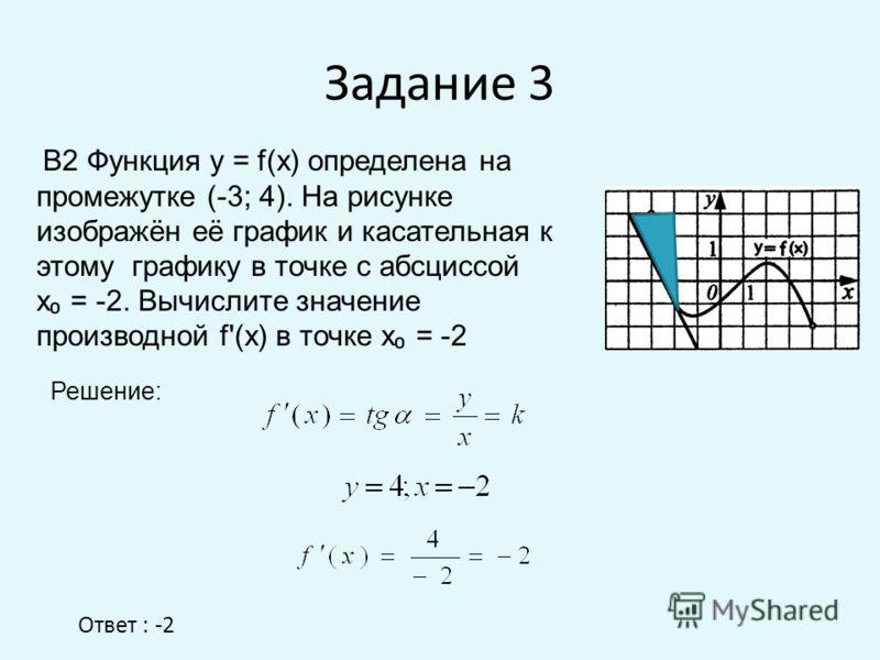 Задание 3 Ответ : -2 В2 Функция у = f(x) определена на промежутке (-3; 4). На рисунке изображён её график и касательная к этому графику в точке с абсциссой х = -2. Вычислите значение производной f'(x) в точке х = -2 Решение: