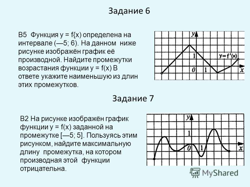 Задание 6 Задание 7 В5 Функция у = f{x) определена на интервале (5; 6). На данном ниже рисунке изображён график её производной. Найдите промежутки возрастания функции у = f(x) В ответе укажите наименьшую из длин этих промежутков. В2 На рисунке изобра