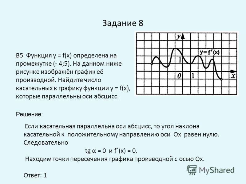 Задание 8 Если касательная параллельна оси абсцисс, то угол наклона касательной к положительному направлению оси Ох равен нулю. Следовательно tg α = 0 и f´(x) = 0. Находим точки пересечения графика производной с осью Ох. Ответ: 1 B5 Функция у = f(x)