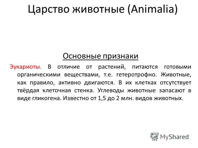 Царство животные (Animalia) Основные признаки Эукариоты. В отличие от растений, питаются готовыми органическими веществами, т.е. гетеротрофно. Животные, как правило, активно двигаются. В их клетках отсутствует твёрдая клеточная стенка. Углеводы живот
