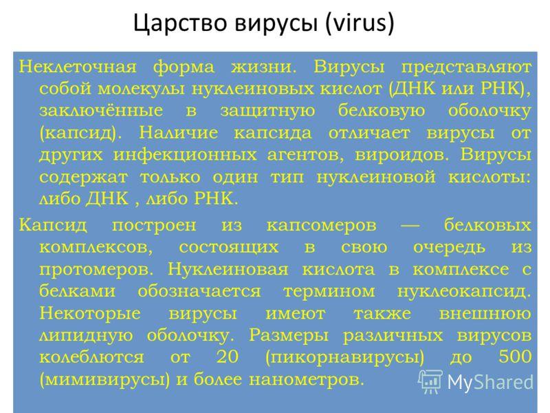 Неклеточная форма жизни. Вирусы представляют собой молекулы нуклеиновых кислот (ДНК или РНК), заключённые в защитную белковую оболочку (капсид). Наличие капсида отличает вирусы от других инфекционных агентов, вироидов. Вирусы содержат только один тип