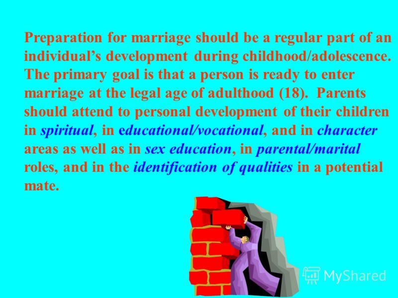 Основные моменты: подготовка к браку/поддержка родителей: