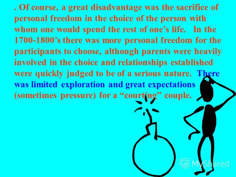 К началу восемнадцатого века в западном обществе (особенно в Северной Америке), количество браков по сговору стало уменьшаться в пользу большей свободы партнеров. Преимущество браков по сговору состояло в их большей стабильности и преемственности соц
