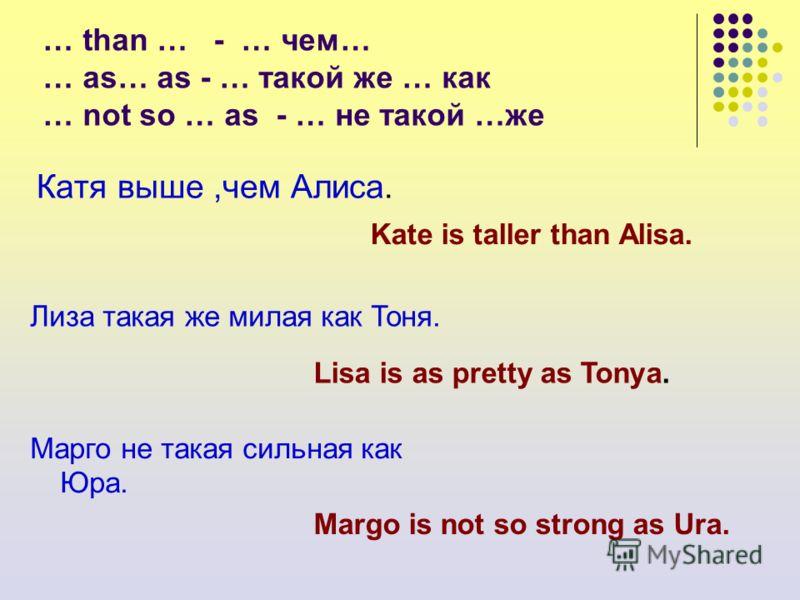 … than … - … чем… … as… as - … такой же … как … not so … as - … не такой …же Катя выше,чем Алиса. Лиза такая же милая как Тоня. Марго не такая сильная как Юра. Kate is taller than Alisa. Lisa is as pretty as Tonya. Margo is not so strong as Ura.