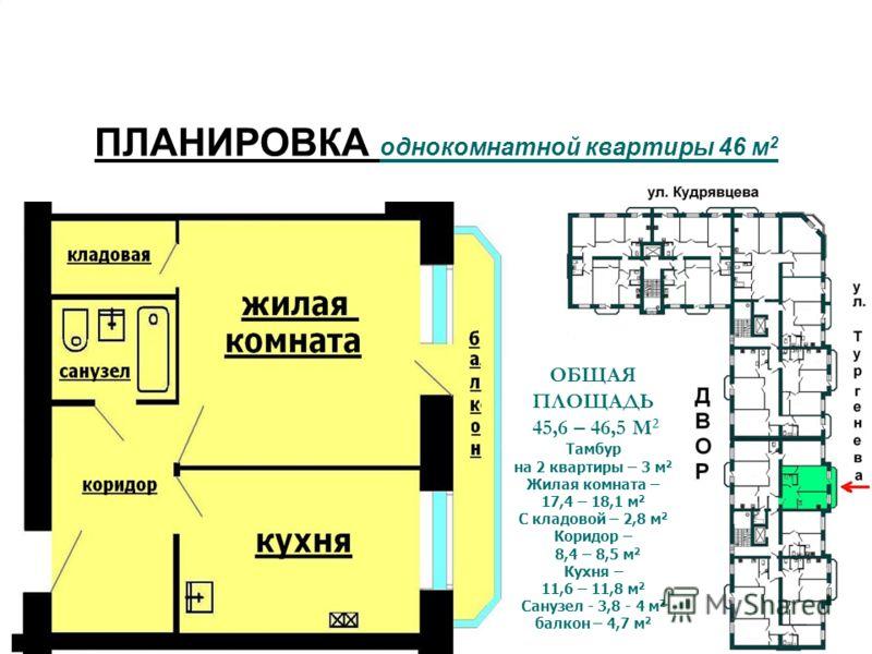 ОБЩАЯ ПЛОЩАДЬ 45,6 – 46,5 М 2 Тамбур на 2 квартиры – 3 м 2 Жилая комната – 17,4 – 18,1 м 2 С кладовой – 2,8 м 2 Коридор – 8,4 – 8,5 м 2 Кухня – 11,6 – 11,8 м 2 Санузел - 3,8 - 4 м 2 балкон – 4,7 м 2 ПЛАНИРОВКА однокомнатной квартиры 46 м 2