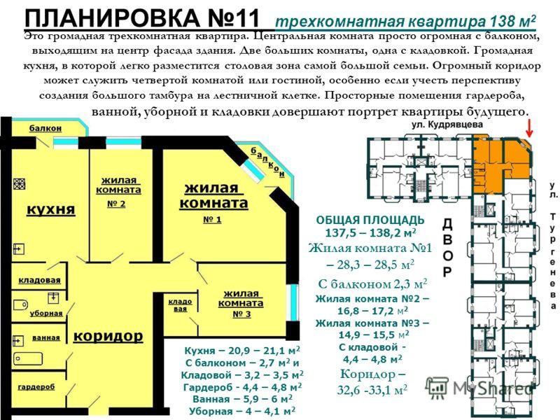 ПЛАНИРОВКА 11 трехкомнатная квартира 138 м 2 Кухня – 20,9 – 21,1 м 2 С балконом – 2,7 м 2 и Кладовой – 3,2 – 3,5 м 2 Гардероб - 4,4 – 4,8 м 2 Ванная – 5,9 – 6 м 2 Уборная – 4 – 4,1 м 2 С балконом 2,3 м 2 Жилая комната 2 – 16,8 – 17,2 м 2 Жилая комнат