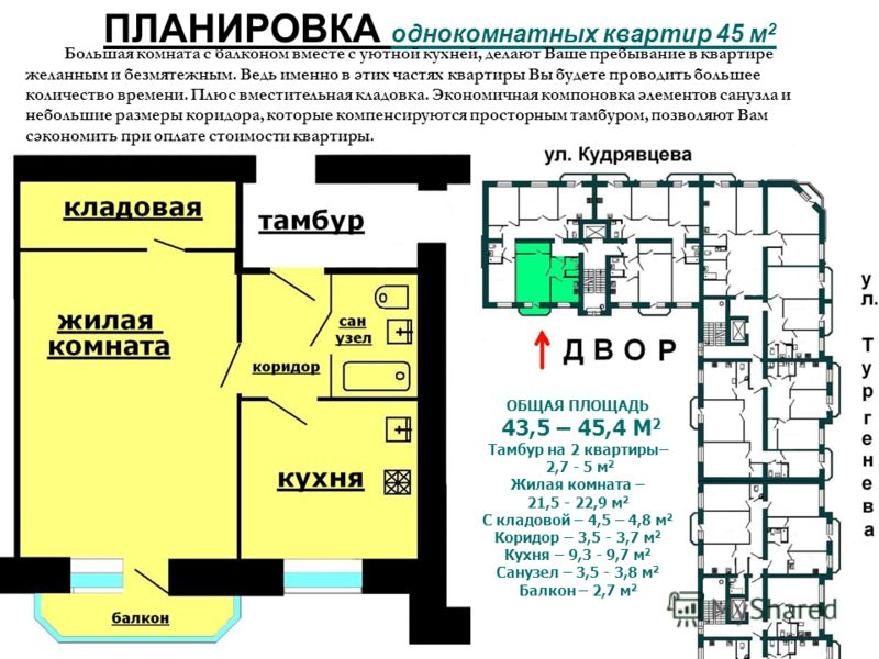 ПЛАНИРОВКА однокомнатных квартир 45 м 2 ОБЩАЯ ПЛОЩАДЬ 43,5 – 45,4 М 2 Тамбур на 2 квартиры– 2,7 - 5 м 2 Жилая комната – 21,5 - 22,9 м 2 С кладовой – 4,5 – 4,8 м 2 Коридор – 3,5 - 3,7 м 2 Кухня – 9,3 - 9,7 м 2 Санузел – 3,5 - 3,8 м 2 Балкон – 2,7 м 2