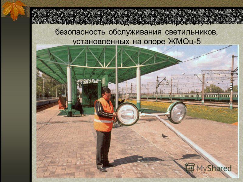 Иллюстрация подтверждает простоту и безопасность обслуживания светильников, установленных на опоре ЖМОц-5