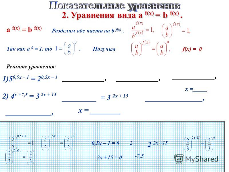 2. Уравнения вида а f(x) = b f(x). а f(x) = b f(x) Разделим обе части на b f(x). Так как а 0 = 1, то. f(x) = 0 Решите уравнения: 1)5 0,5х – 1 = 2 0,5х – 1 ___________, 0,5х – 1 = 02 ___________, х =_____ 2) 4 х +7,5 = 3 2х + 15 2 2х +15 _________ = 3
