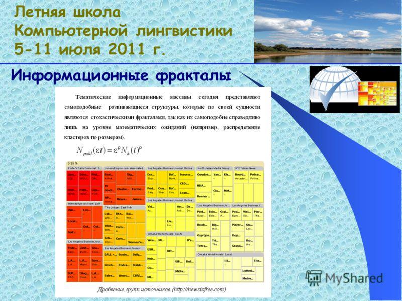 Информационные фракталы Летняя школа Компьютерной лингвистики 5-11 июля 2011 г.