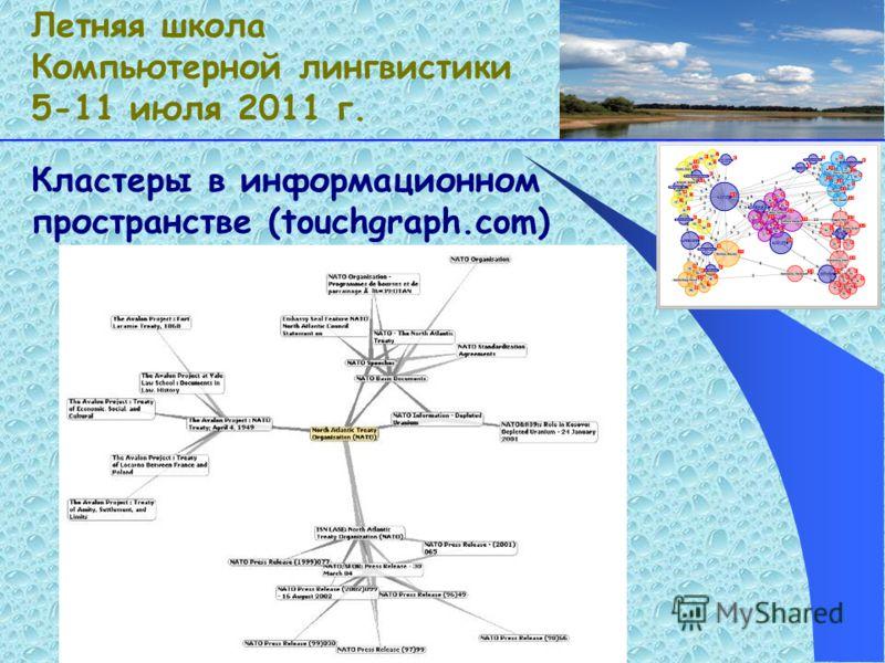 Кластеры в информационном пространстве (touchgraph.com) Летняя школа Компьютерной лингвистики 5-11 июля 2011 г.
