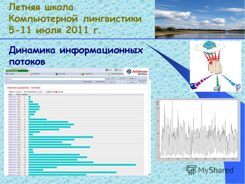 Динамика информационных потоков Летняя школа Компьютерной лингвистики 5-11 июля 2011 г.