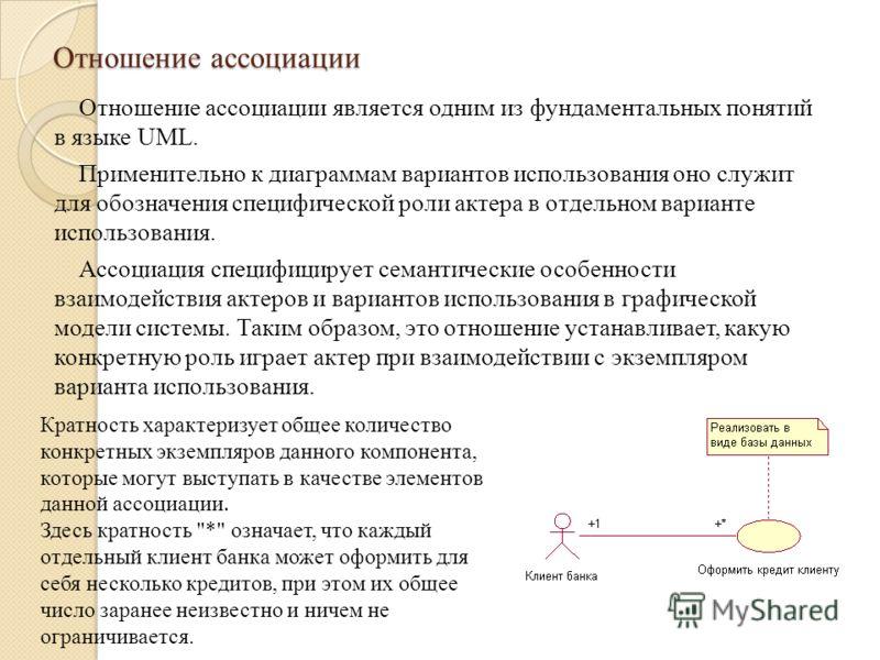 Отношение ассоциации Отношение ассоциации является одним из фундаментальных понятий в языке UML. Применительно к диаграммам вариантов использования оно служит для обозначения специфической роли актера в отдельном варианте использования. Ассоциация сп