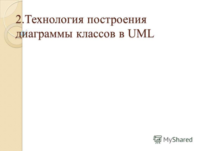 2.Технология построения диаграммы классов в UML