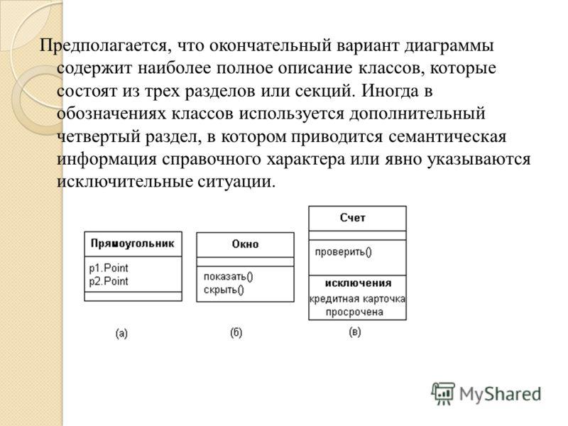 Предполагается, что окончательный вариант диаграммы содержит наиболее полное описание классов, которые состоят из трех разделов или секций. Иногда в обозначениях классов используется дополнительный четвертый раздел, в котором приводится семантическая