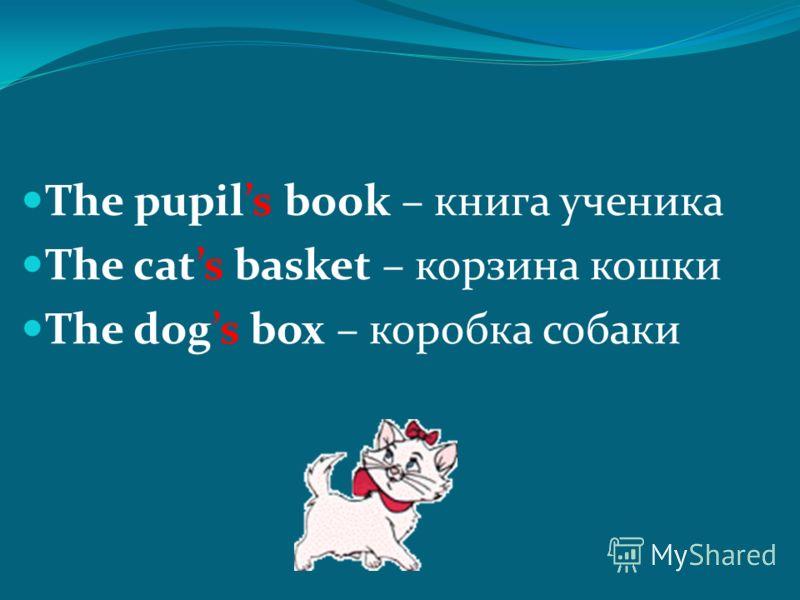 The pupils book – книга ученика The cats basket – корзина кошки The dogs box – коробка собаки