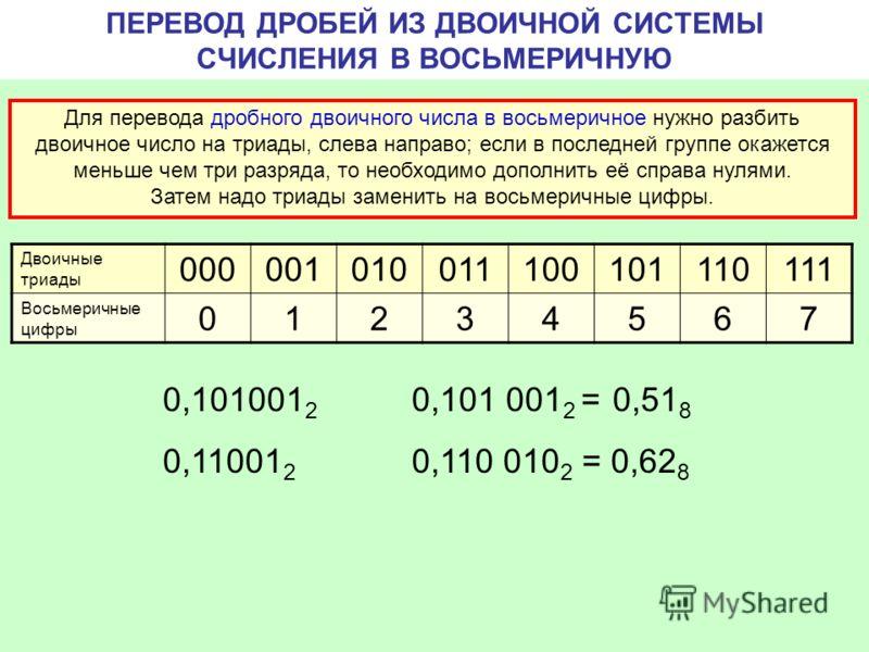 ПЕРЕВОД ДРОБЕЙ ИЗ ДВОИЧНОЙ СИСТЕМЫ СЧИСЛЕНИЯ В ВОСЬМЕРИЧНУЮ Для перевода дробного двоичного числа в восьмеричное нужно разбить двоичное число на триады, слева направо; если в последней группе окажется меньше чем три разряда, то необходимо дополнить е