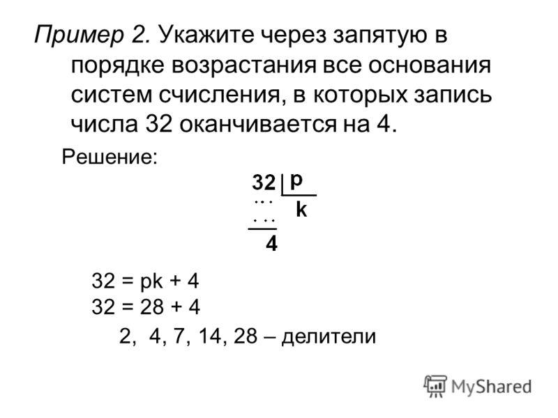 Пример 2. Укажите через запятую в порядке возрастания все основания систем счисления, в которых запись числа 32 оканчивается на 4. Решение: 32 = pk + 4 32 = 28 + 4 2, 4, 7, 14, 28 – делители