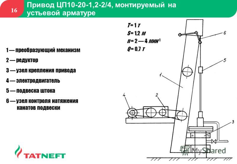 16 Привод ЦП10-20-1,2-2/4, монтируемый на устьевой арматуре 1 преобразующий механизм 2 редуктор 3 узел крепления привода 4 электродвигатель 5 подвеска штока 6 узел контроля натяжения канатов подвески Т = 1 т S = 1,2 м n = 2 4 мин -1 Q = 0,7 т