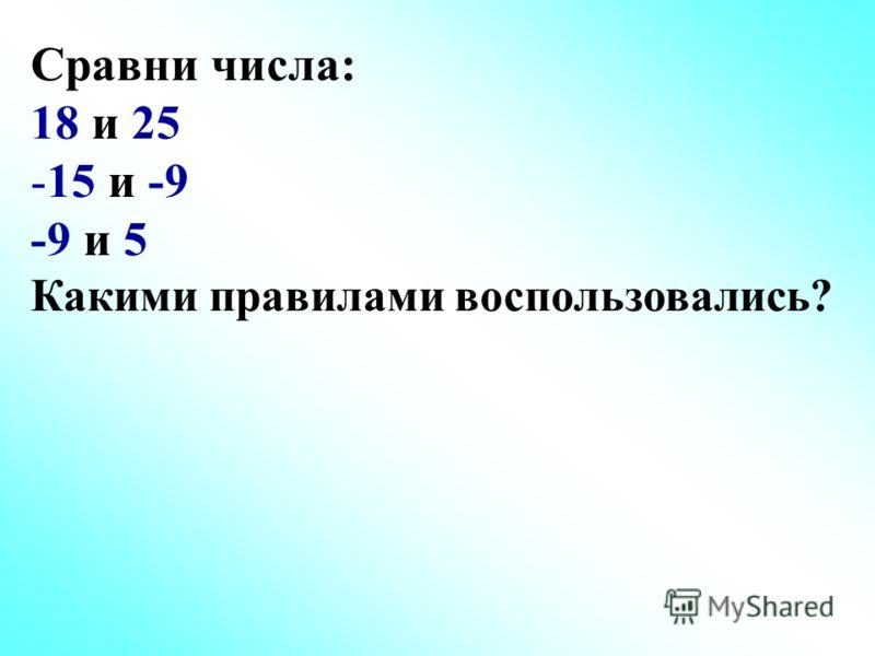 Сравни числа: 18 и 25 -15 и -9 -9 и 5 Какими правилами воспользовались?