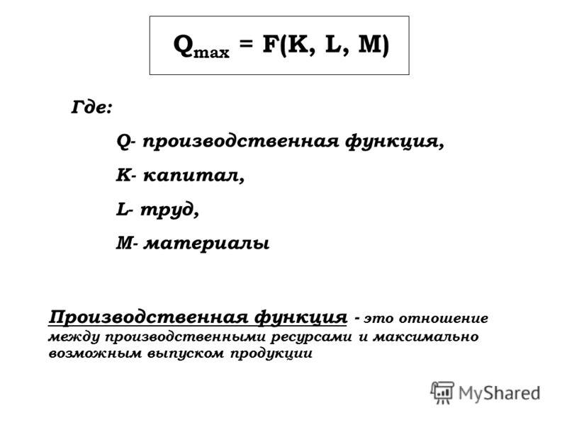 Q max = F(K, L, M) Где: Q- производственная функция, K- капитал, L- труд, M- материалы Производственная функция - это отношение между производственными ресурсами и максимально возможным выпуском продукции