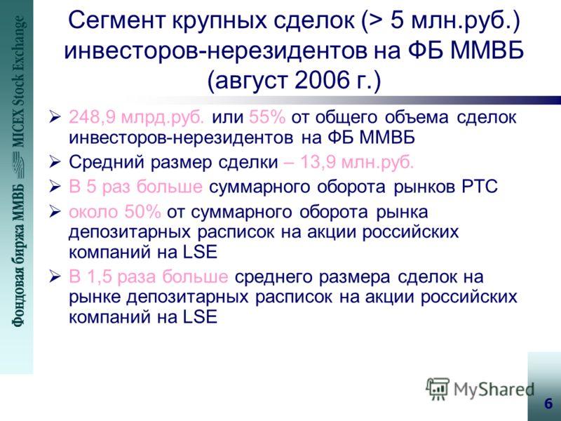 6 Сегмент крупных сделок (> 5 млн.руб.) инвесторов-нерезидентов на ФБ ММВБ (август 2006 г.) 248,9 млрд.руб. или 55% от общего объема сделок инвесторов-нерезидентов на ФБ ММВБ Средний размер сделки – 13,9 млн.руб. В 5 раз больше суммарного оборота рын