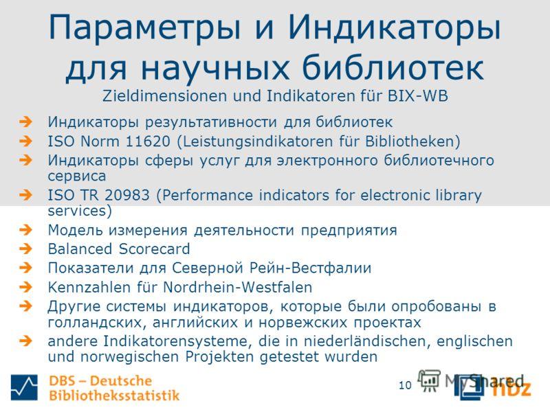 10 Параметры и Индикаторы для научных библиотек Zieldimensionen und Indikatoren für BIX-WB Индикаторы результативности для библиотек ISO Norm 11620 (Leistungsindikatoren für Bibliotheken) Индикаторы сферы услуг для электронного библиотечного сервиса