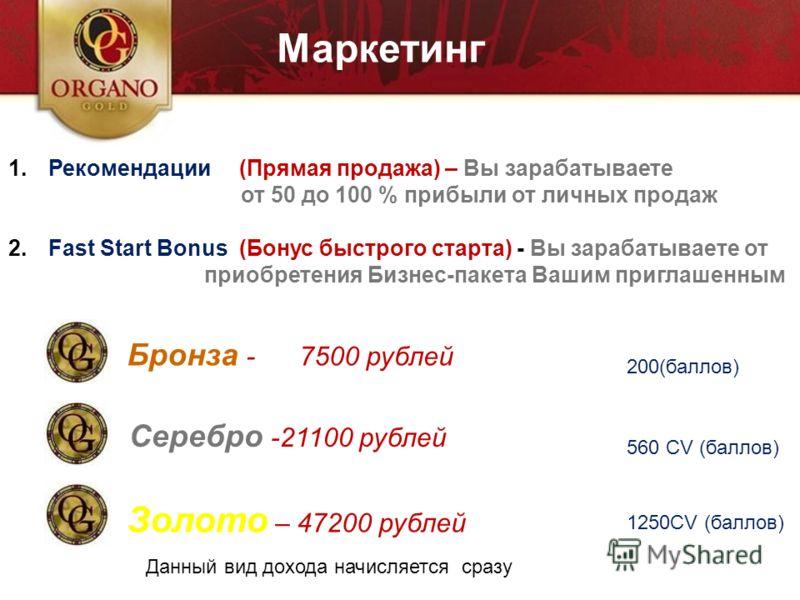 Маркетинг 1.Рекомендации (Прямая продажа) – Вы зарабатываете от 50 до 100 % прибыли от личных продаж 2.Fast Start Bonus (Бонус быстрого старта) - Вы зарабатываете от приобретения Бизнес-пакета Вашим приглашенным Бронза - 7500 рублей Серебро -21100 ру