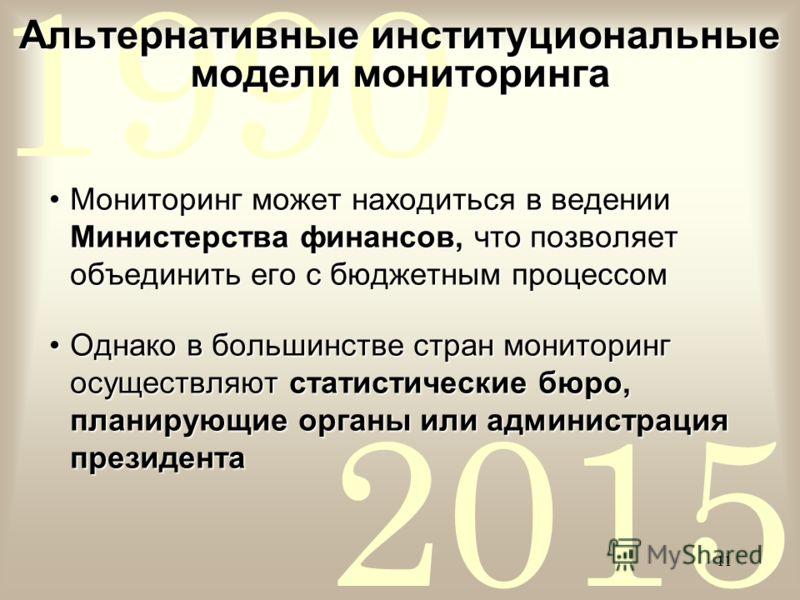 2015 1990 11 Альтернативные институциональные модели мониторинга Мониторинг может находиться в ведении Министерства финансов, что позволяет объединить его с бюджетным процессомМониторинг может находиться в ведении Министерства финансов, что позволяет