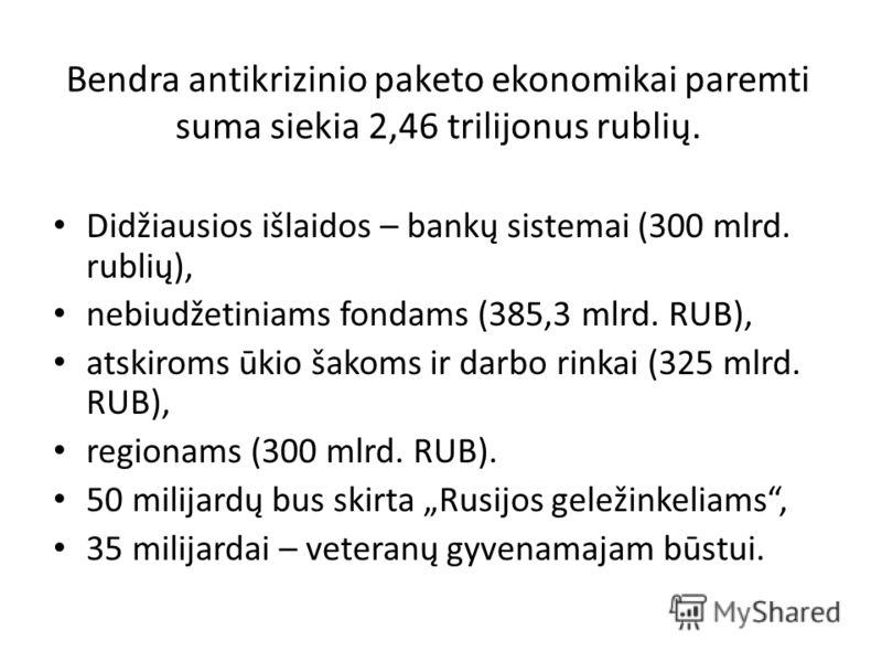 Bendra antikrizinio paketo ekonomikai paremti suma siekia 2,46 trilijonus rublių. Didžiausios išlaidos – bankų sistemai (300 mlrd. rublių), nebiudžetiniams fondams (385,3 mlrd. RUB), atskiroms ūkio šakoms ir darbo rinkai (325 mlrd. RUB), regionams (3