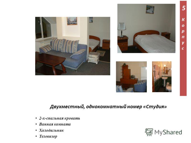 2-х-спальная кровать Ванная комната Холодильник Телевизор Двухместный, однокомнатный номер «Студия» 5Корпус5Корпус