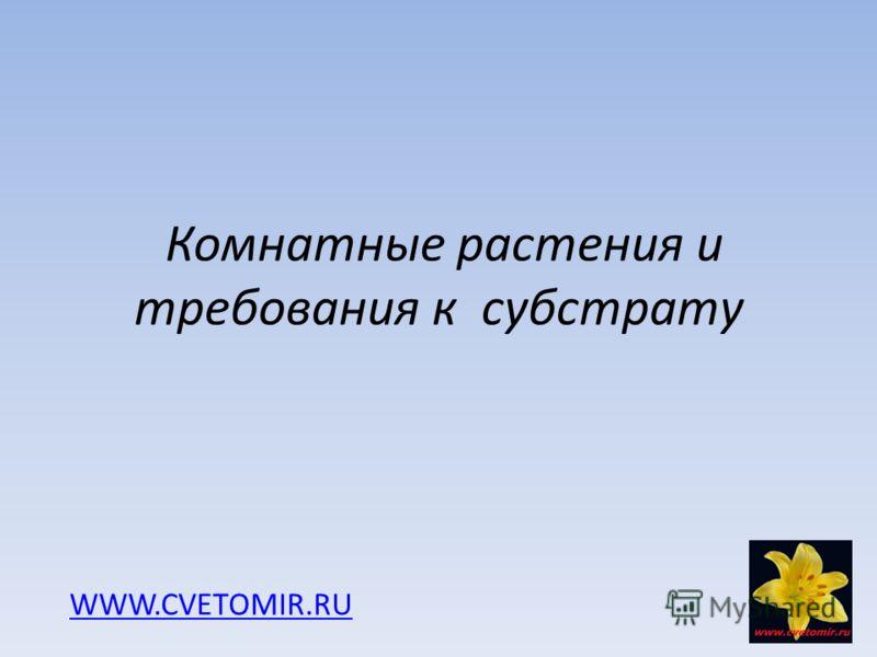 Комнатные растения и требования к субстрату WWW.CVETOMIR.RU